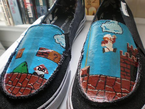 Hand Painted Mario Shoes Boing Boing