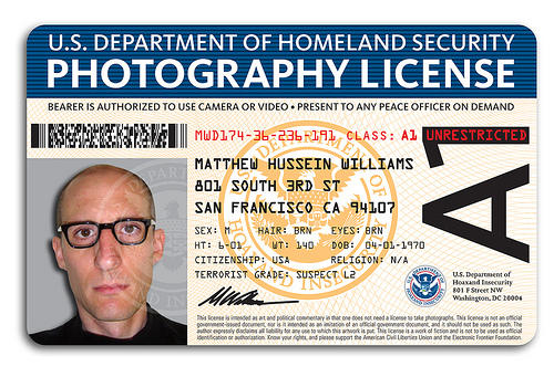 Fake dhs photography license for fake no photos laws for Photographer id card template