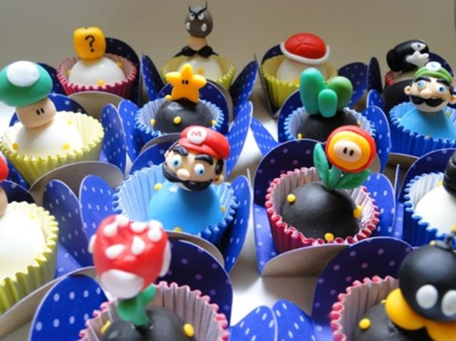 Boing Boing Pixel Mario cake made from cupcake squares