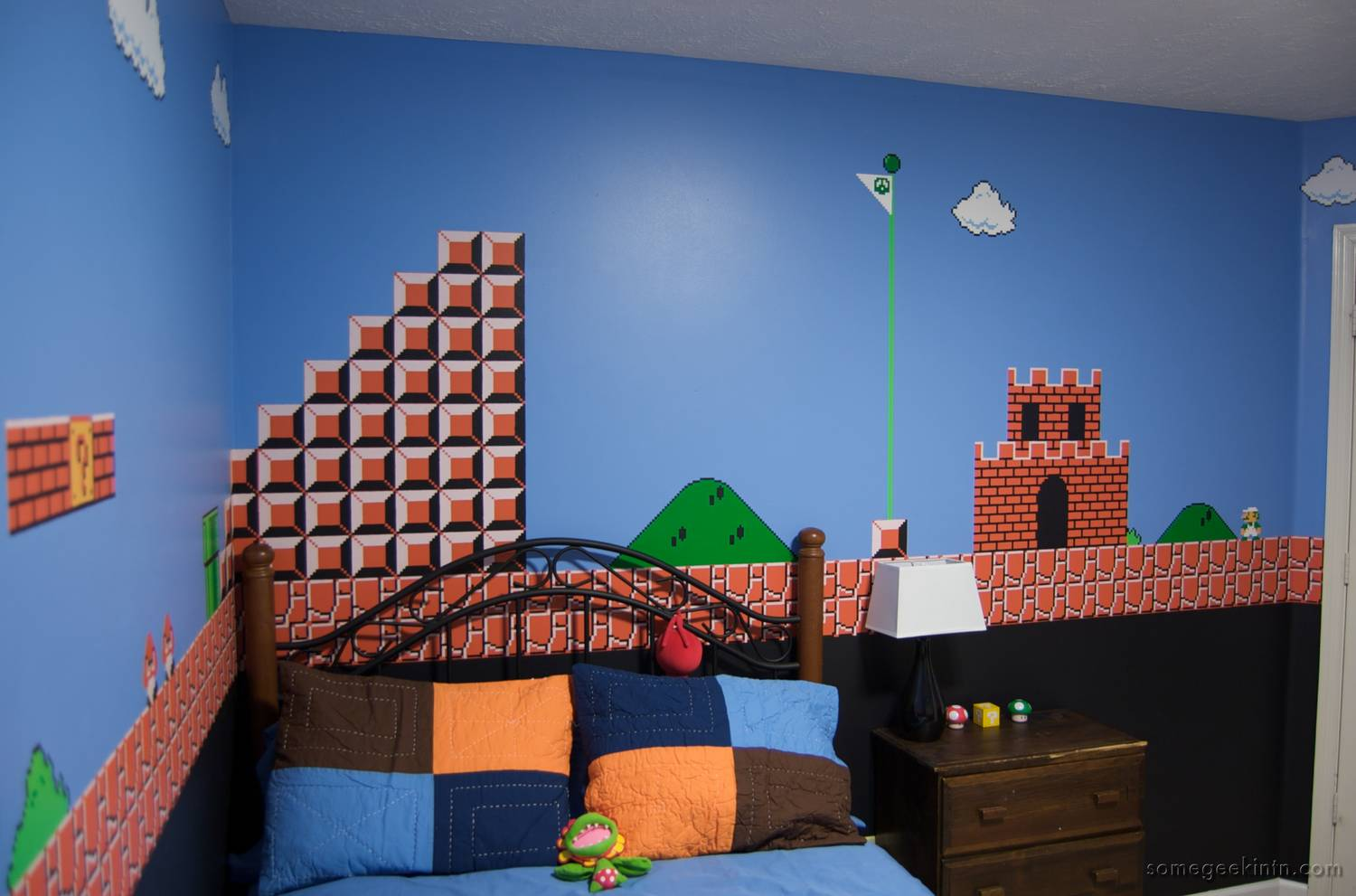 Kids 39 room super mario mural boing boing for Castle mural kids room