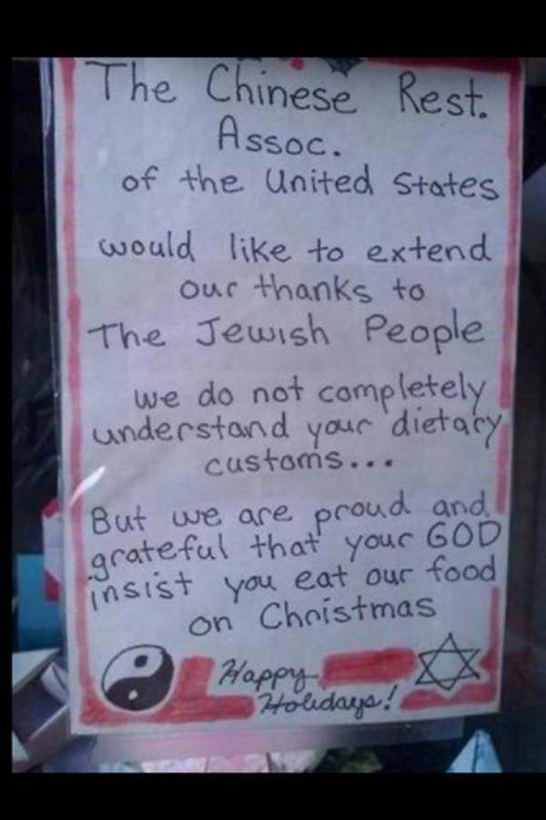 Chinese restaurant sign thanks Jews for eating there on ...