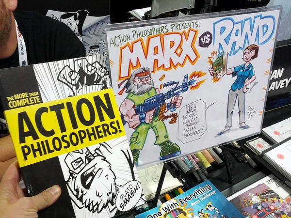 Action Philosophers Comics - Plato Smash and Karl Marx vs. Ayn Rand