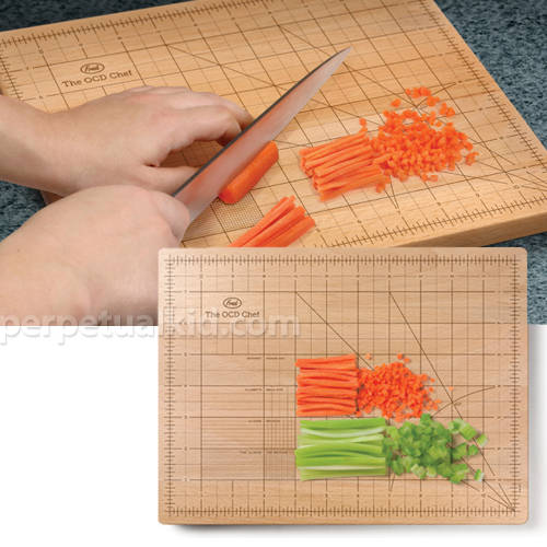 ocd cutting board marked with precise angles and measurements for,