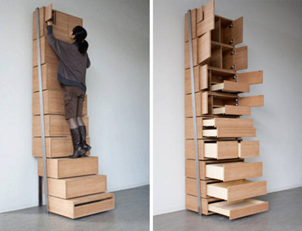 Staircase storage vertical shelving unit is its own stepladder boing boing - Clothing storage for small spaces image ...