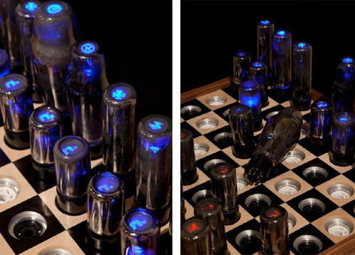 Chess set made from vacuum tubes boing boing - Hello kitty chess set ...