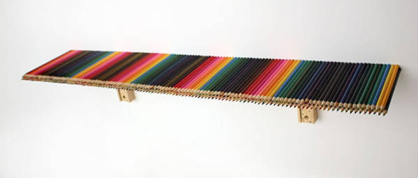 Shelf made from pencil crayons / Boing Boing