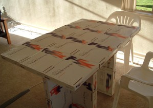 free table made from fedex boxes boing boing
