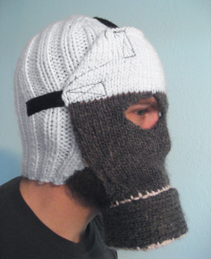 Knitting Funny Hats : Knit gas mask hat boing