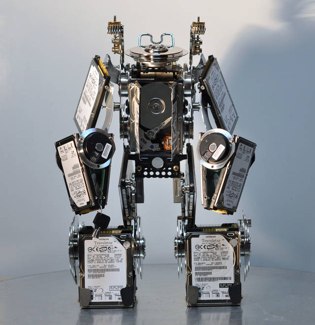 Junkbots made from old hard-drives