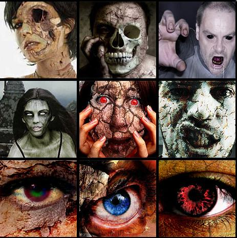 scary demons, zombies, vampires, and other spooks and scares.