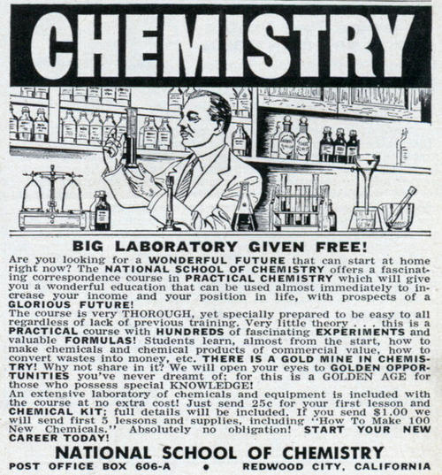 Chemistry set ad from the