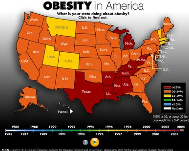 Obesity Us Map.Animated Map Of American Obesity 1985 2004 Boing Boing