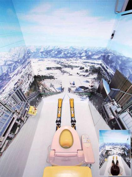 trompe l 39 oeil ski toilet mural boing boing. Black Bedroom Furniture Sets. Home Design Ideas