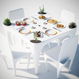 Outdoor dining table with wind resistant plate recesses for Table exterieur restaurant