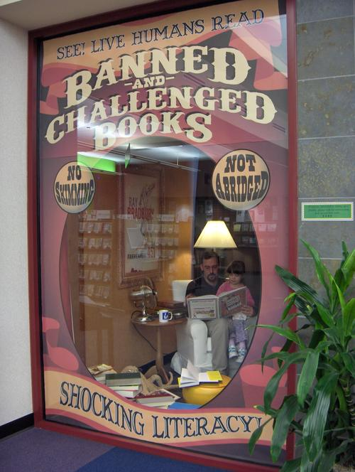 Window display at the libraray in Glen Allen, Virginia, for Banned Books Week.  via Boing Boing